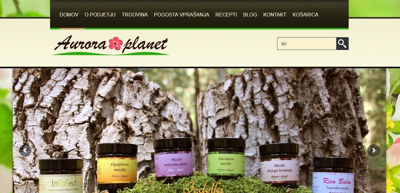 izdelava spletne trgovine www.aurora-planet.com
